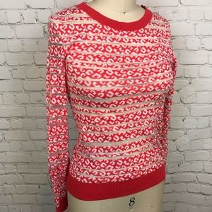 EXPRESS sheer red leopard striped Sweater top S